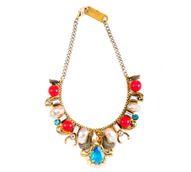 Valliyan | Gold plated red and turq necklace