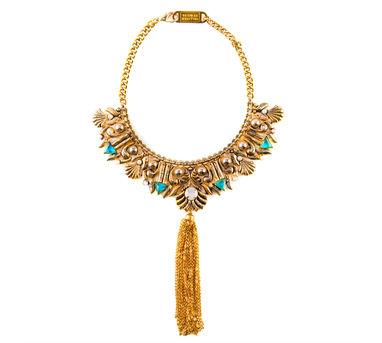 Valliyan | Gold plated tassel necklace