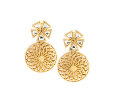 Vasundhara | Gold Zircon Earrings