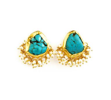 Zariin | It's A Girl Thing Turquoise Stud Earrings