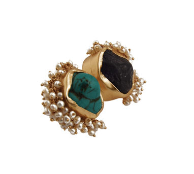 Zariin | Twofold Treat Turquoise And Amethyst Ring