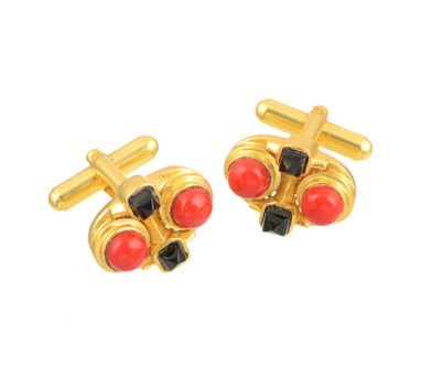Zariin|Zoe Red Corel Cuff Links