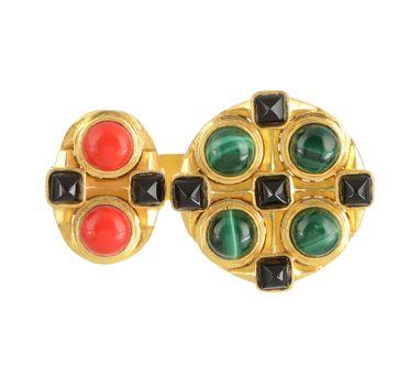 Zariin Silk Route Green & Red  Ring