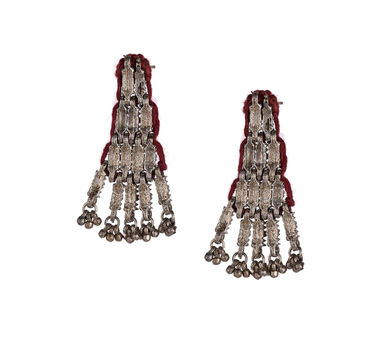 House Of Tuhina Red Cotton Thread Weave Earrings