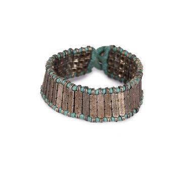 House Of Tuhina|Silver Finish Textured Block Sky Blue Bracelet