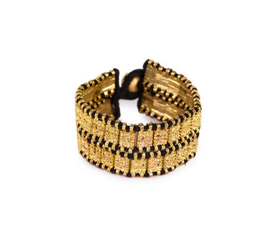 House Of Tuhina Gold  Finish Textured  Black Block Bracelet