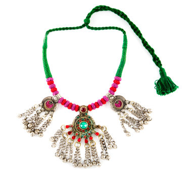 INDO CHINE   Nagma Red Tassles Necklace