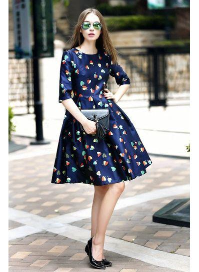 Blue Heart Printed Dress