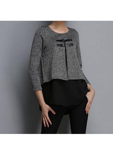 Grey & Black Long Sleeve Blouse - KP001423