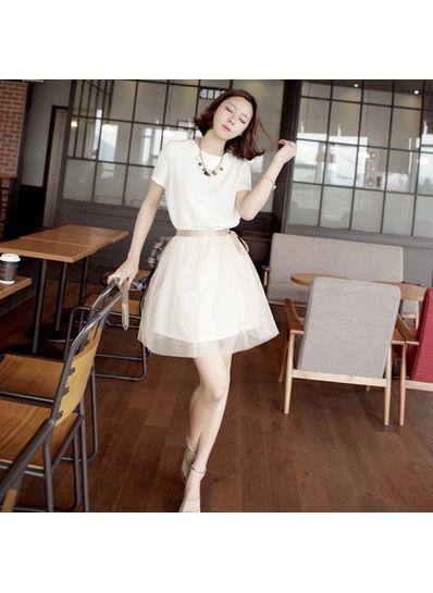 Elegant White O-Neck Short Dress