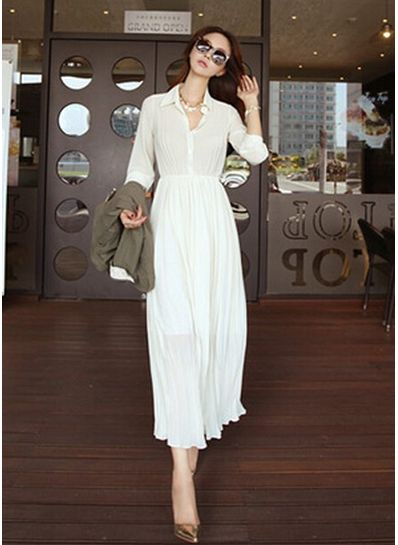 Turn-down collar Solid Color Maxi Dress