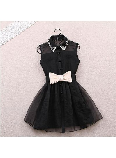 Cute Turndown Collar Dress