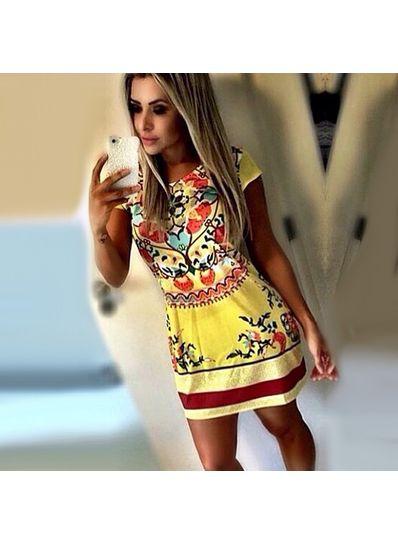 Yellow Round Neck Dress