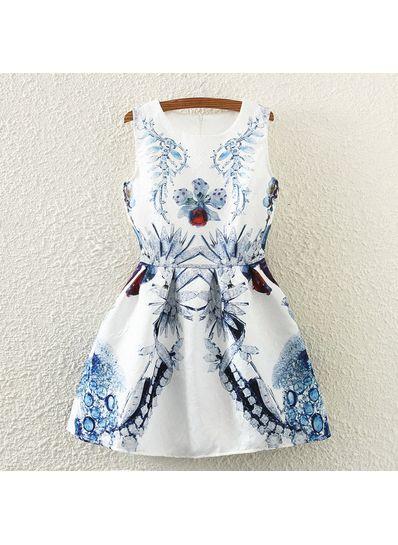 White Printed Short Dress