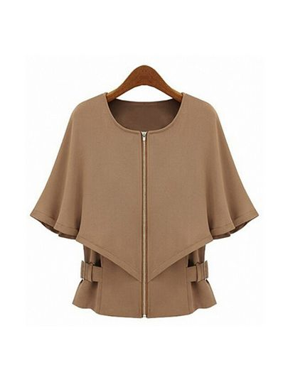 Khaki Cotton Blends Coat