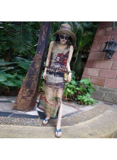 Beautiful Printed Chiffon Maxi Dress