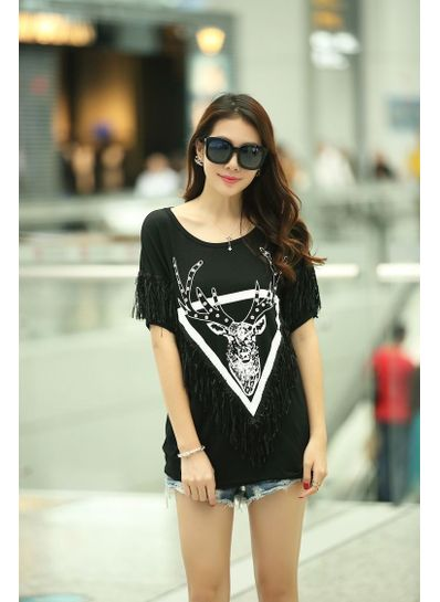 Black Printed Casual Tassel Cotton T-Shirt