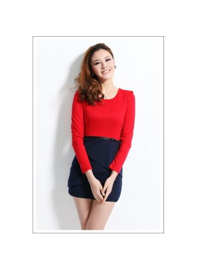 Red & Bluse Dress with Belt