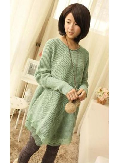 Green Solid Wrosted Sweater - KP001415