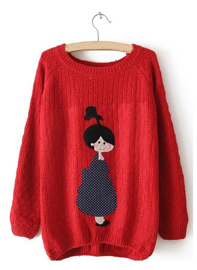 Cute Red Doll Printed Sweater