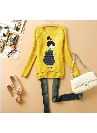 Cute Yellow Doll Printed Sweater
