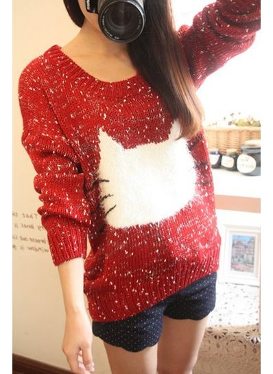 Red Woolen Printed Sweater