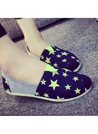Star Printed Loafers - Blue-KP001381