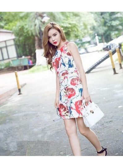 Sweet Printed Straight Dress