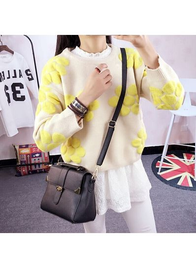 Cute Floral Design Sweater - Yellow