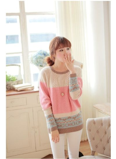 Pink O-Neck Sweater