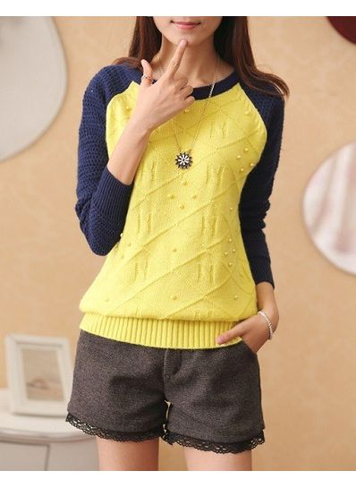Pearl Design Worsted Sweater - KP001395