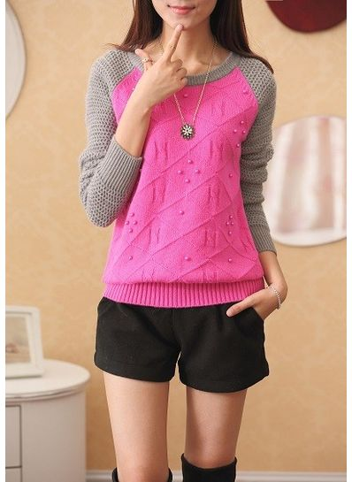 Pearl Design Worsted Sweater - KP001396