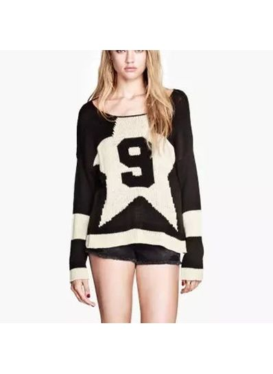 Cute Number Printed Worsted Sweater