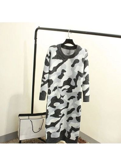 Camouflage Sweater - Gray - KP001403