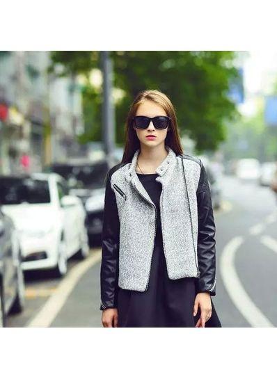 Grey Woolen & PU Coat - KP001389