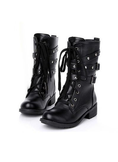 Studded Solid Black PU Boots