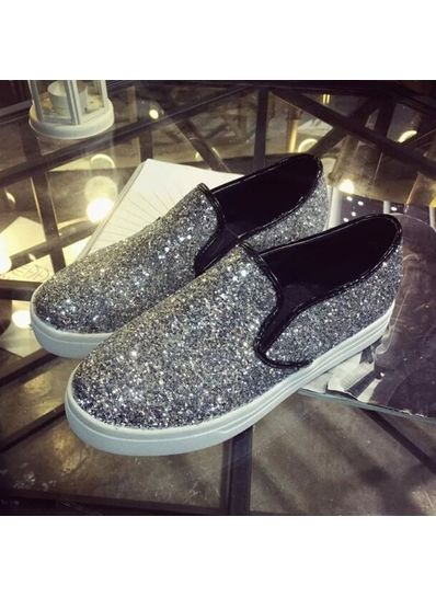Grey Glitter Solid Canvas Loafers