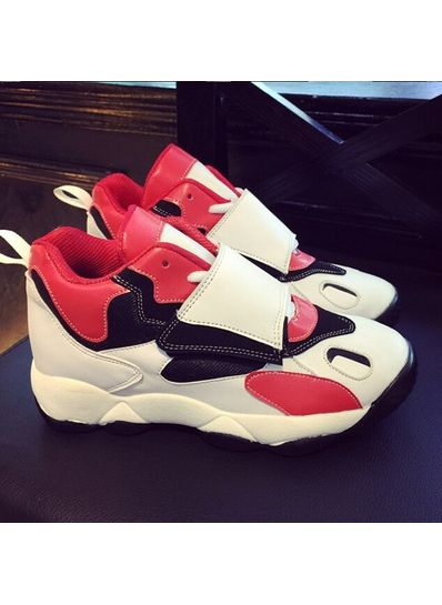 Colorful patchwork pu sneakers