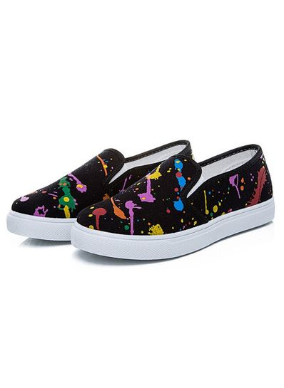 Colorful Printed canvas loafers