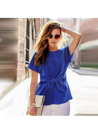 Bow knot design Solid Color T-shirt