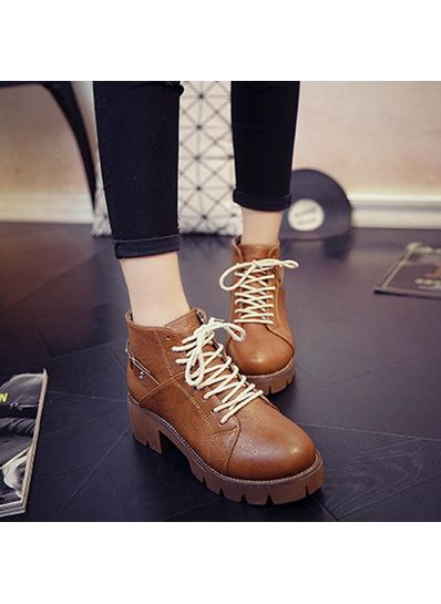 Solid Color PU Boots