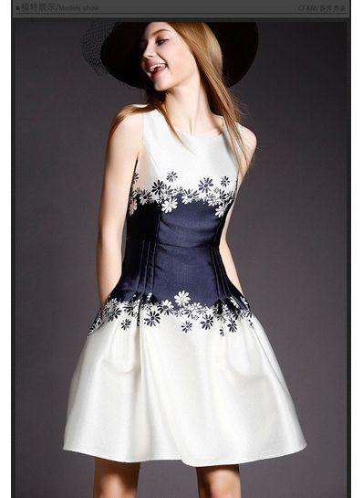 Cute Sleeveless White & Blue Party Dress