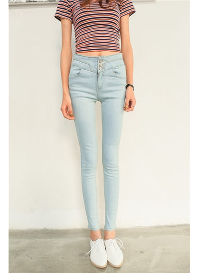 Stylish Pencil Jeans With Buttons