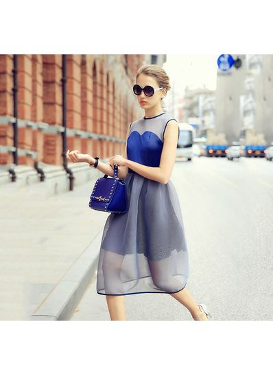 Pleasant Blue Net Sleeveless Party Dress