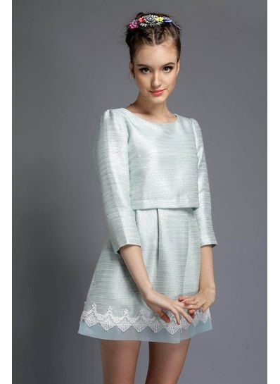 Three Quarter Sleeves With Embroidery Border Party Dress