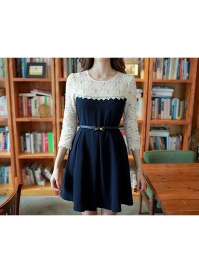 White Lace Top -  Deep Blue Chiffon Dress