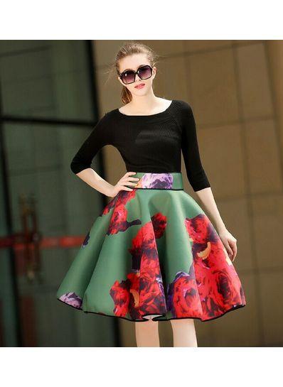 Boat Neck Top + Floral Skirt - KP001443