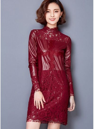 Leather Effect Lace Dress - KP001445