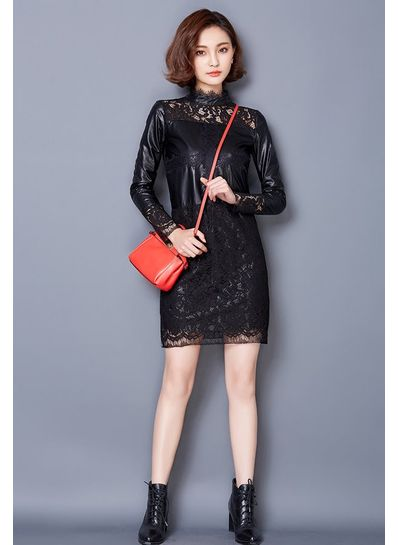Leather Effect Lace Dress - KP001446