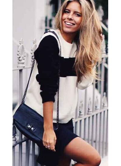 Color Block Black & White Sweater - KP001457